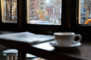 Overlooking the Lower East Side with a tasty espresso.